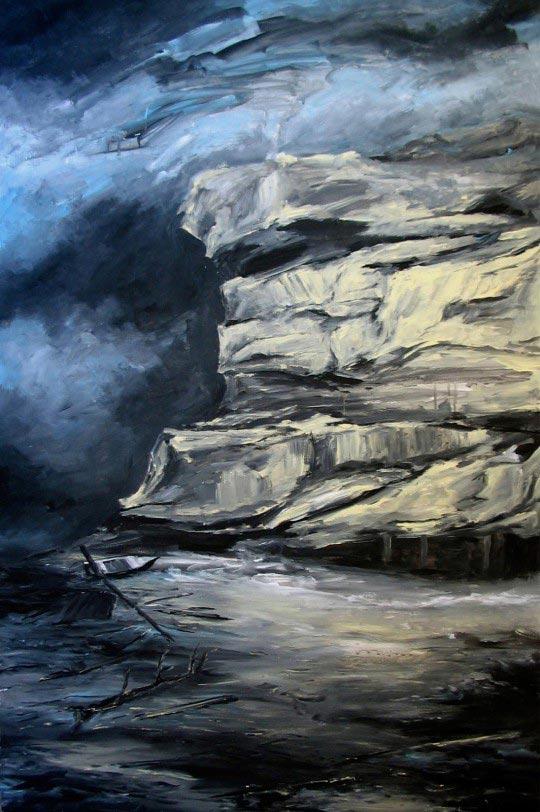 Linda Roux, Hiver, acrylique sur medium, 120 x 80 cm, 2007