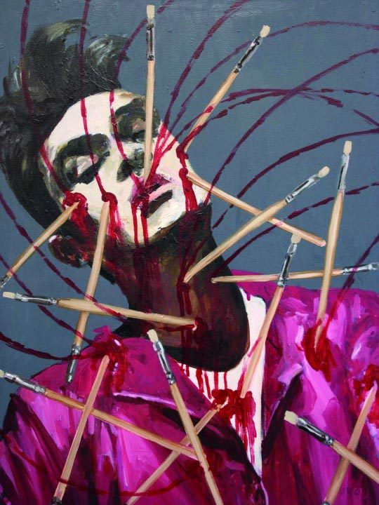 Dawn Mellor, Morrissey from Vile Affections, 2007, Oil on canvas
