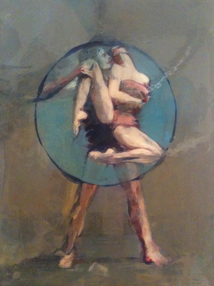 Nushka, Dancers, acrylique sur papier marouflé sur bois laqué, 21x15 cm, 2013