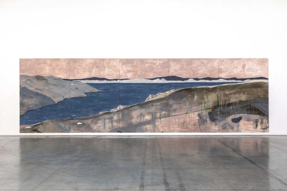 Lou Ros, Îles du frioul, 300 x 1000 cm, Acrylic and pastel on canvas, 2019