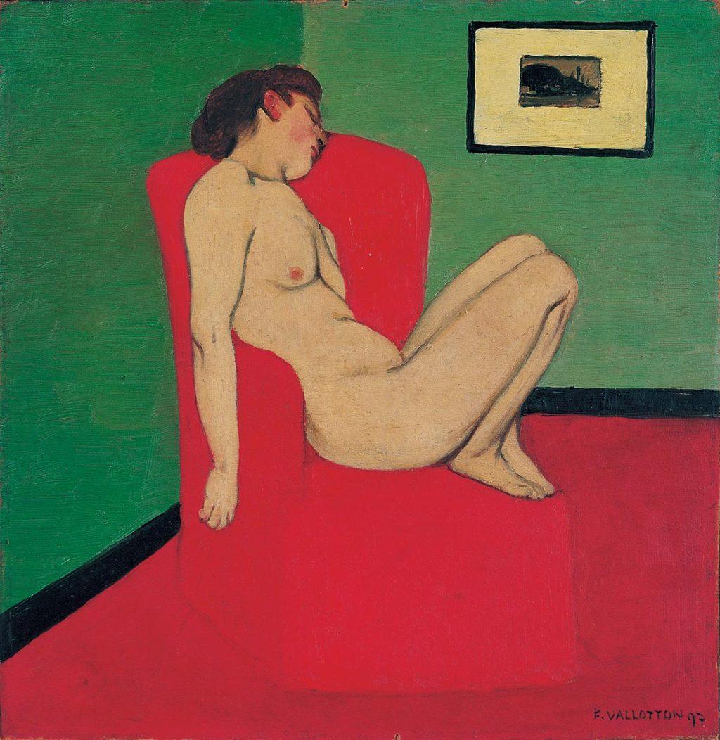 Félix Vallotton, Femme nue assise dans un fauteuil rouge